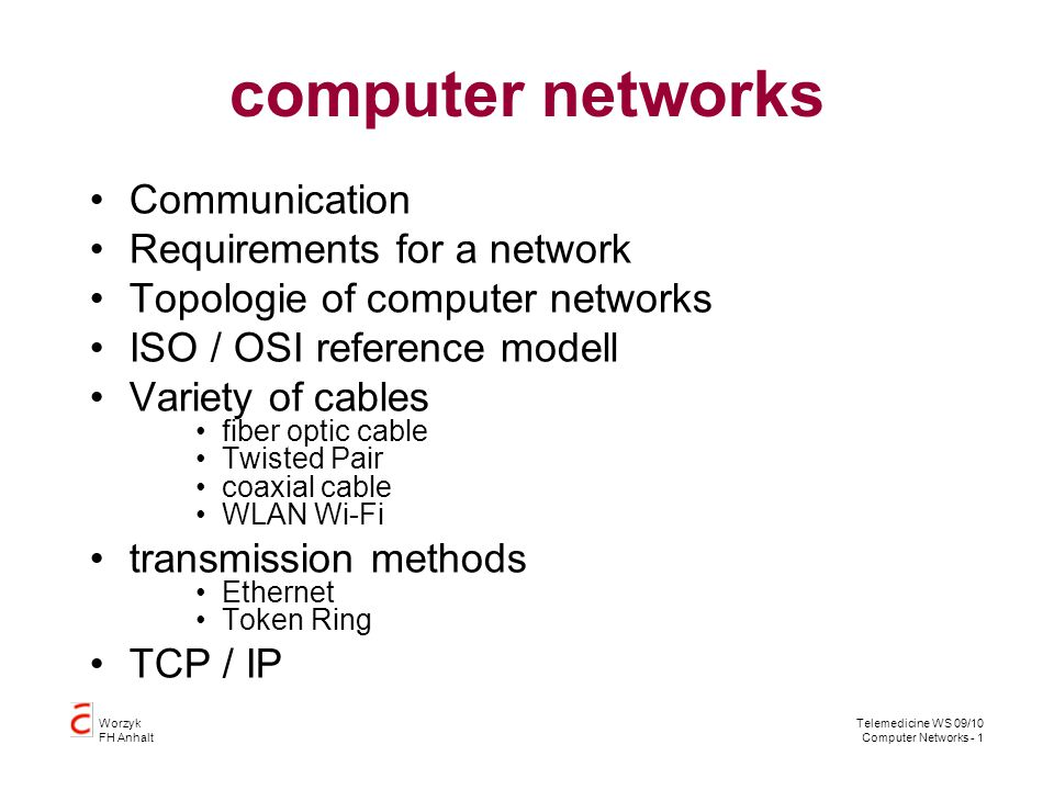 computer networks Communication Requirements for a network