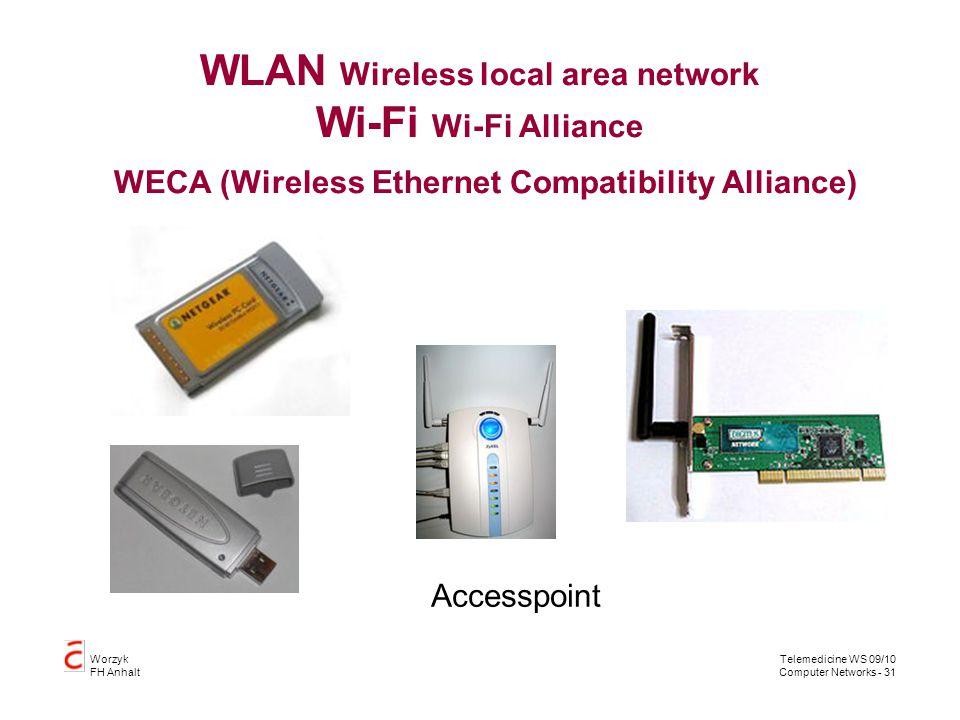 WLAN Wireless local area network Wi-Fi Wi-Fi Alliance WECA (Wireless Ethernet Compatibility Alliance)