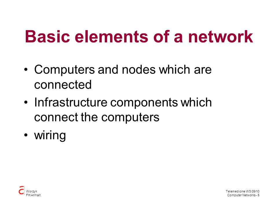 Basic elements of a network