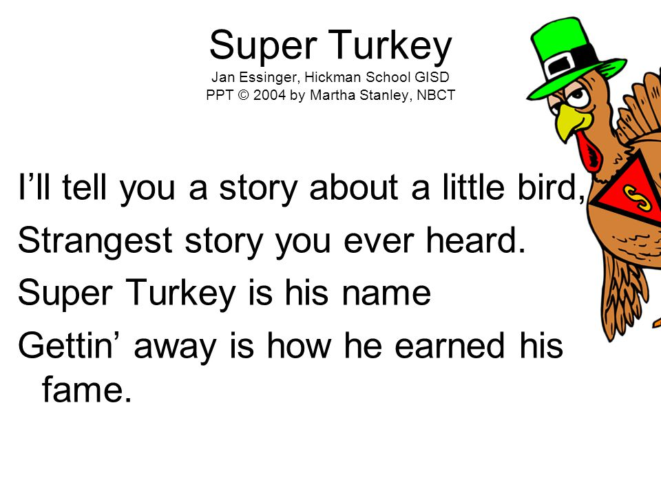 Super Turkey Jan Essinger, Hickman School GISD PPT © 2004 by Martha Stanley, NBCT