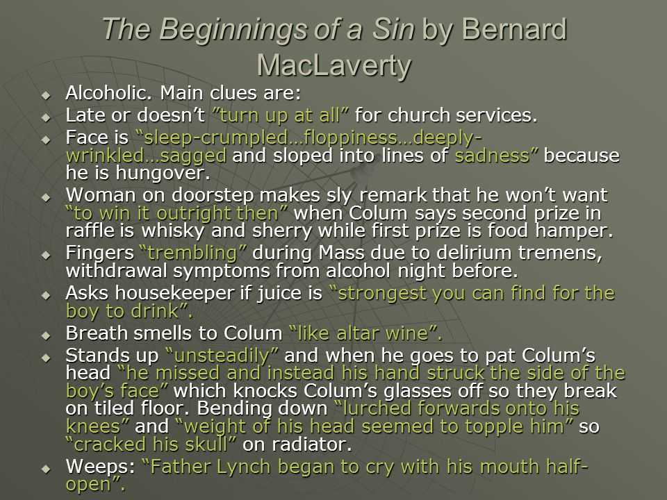 The Beginnings of a Sin by Bernard MacLaverty