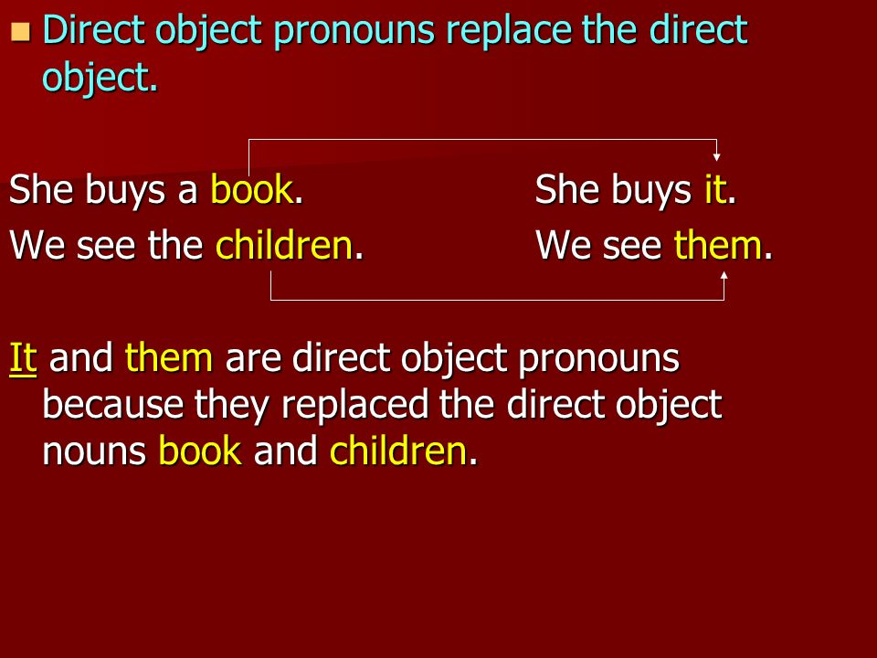 Direct object pronouns replace the direct object.