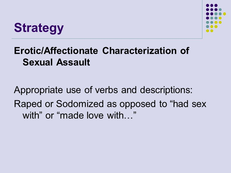 Strategy Erotic/Affectionate Characterization of Sexual Assault