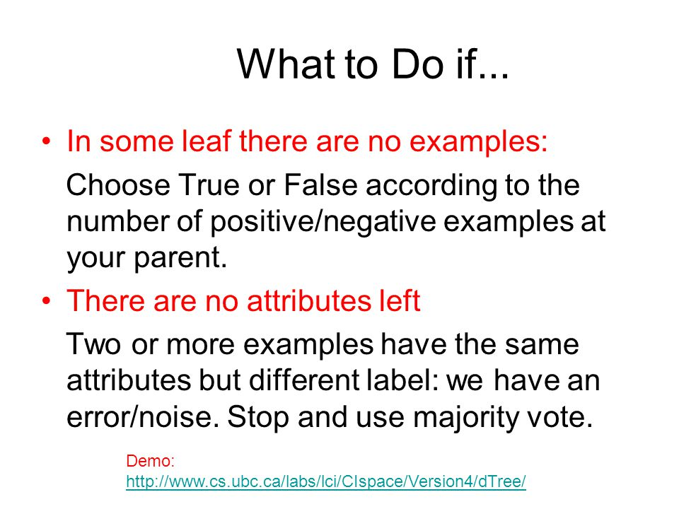 What to Do if... In some leaf there are no examples: