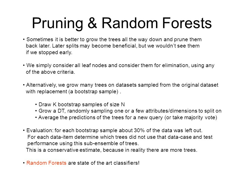 Pruning & Random Forests