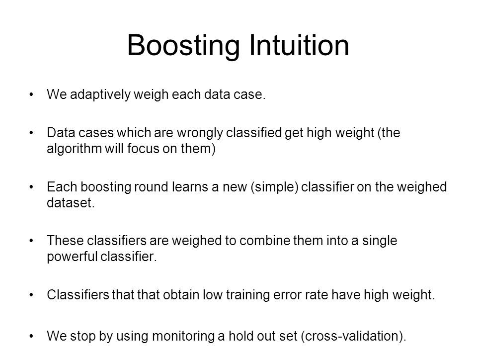 Boosting Intuition We adaptively weigh each data case.