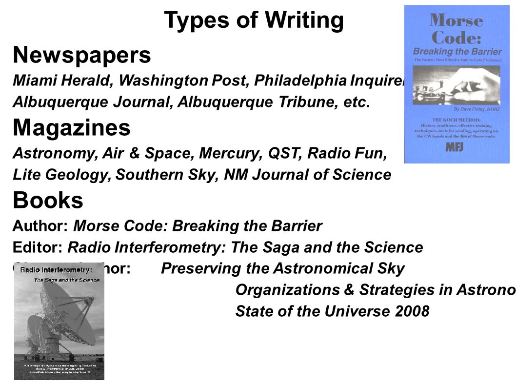 Types of Writing Newspapers Magazines Books