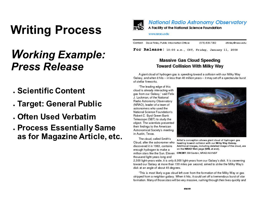 Writing Process Working Example: Press Release Scientific Content
