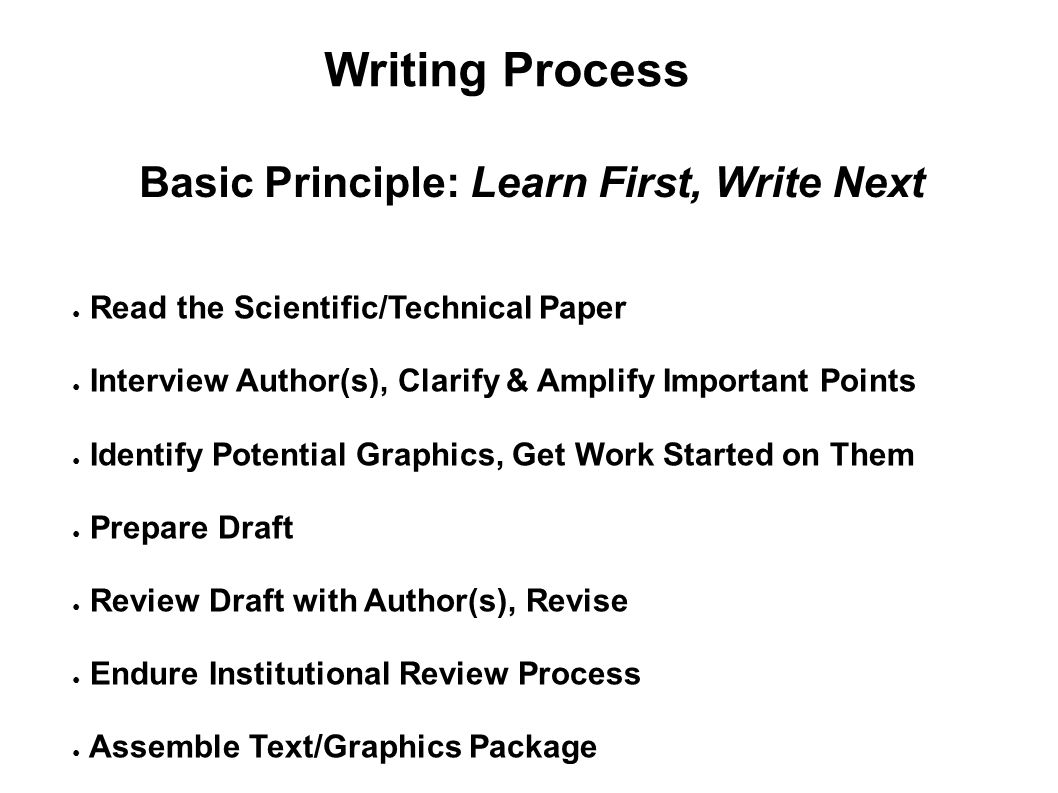 Writing Process Basic Principle: Learn First, Write Next