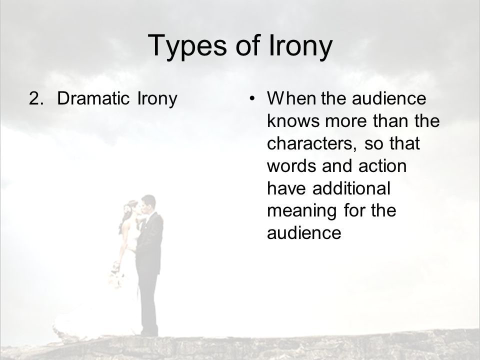 Types of Irony Dramatic Irony
