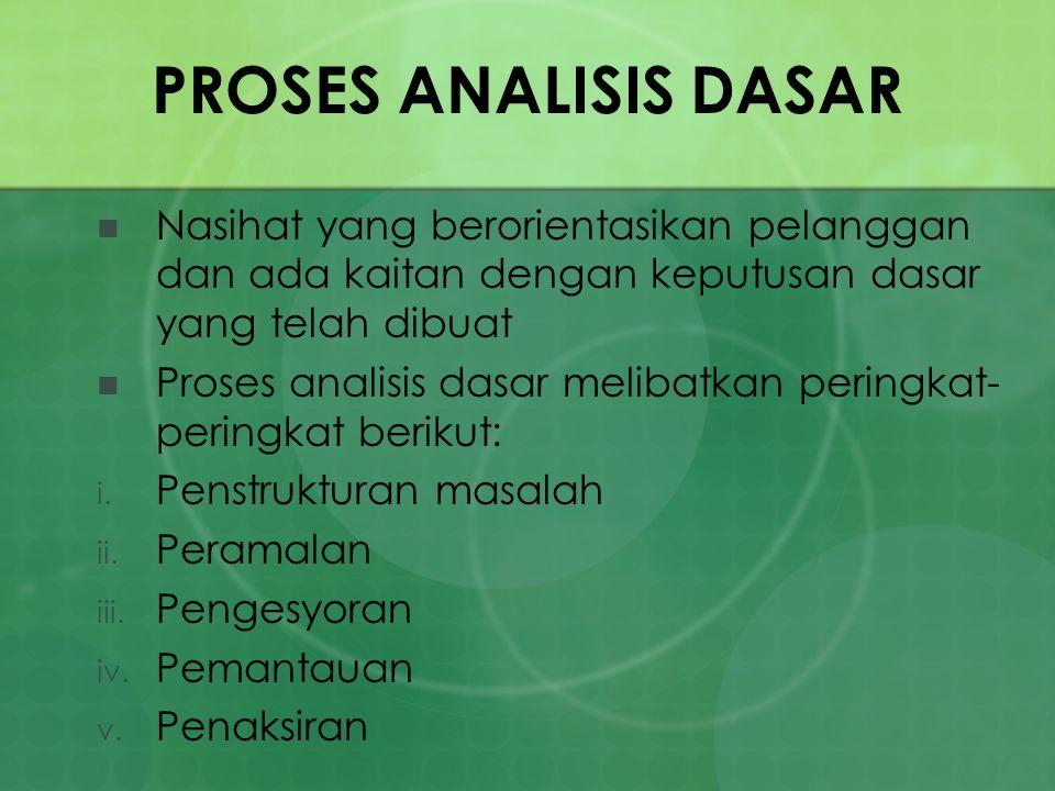 PROSES ANALISIS DASAR Nasihat yang berorientasikan pelanggan dan ada kaitan dengan keputusan dasar yang telah dibuat.