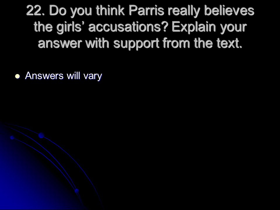 22. Do you think Parris really believes the girls' accusations