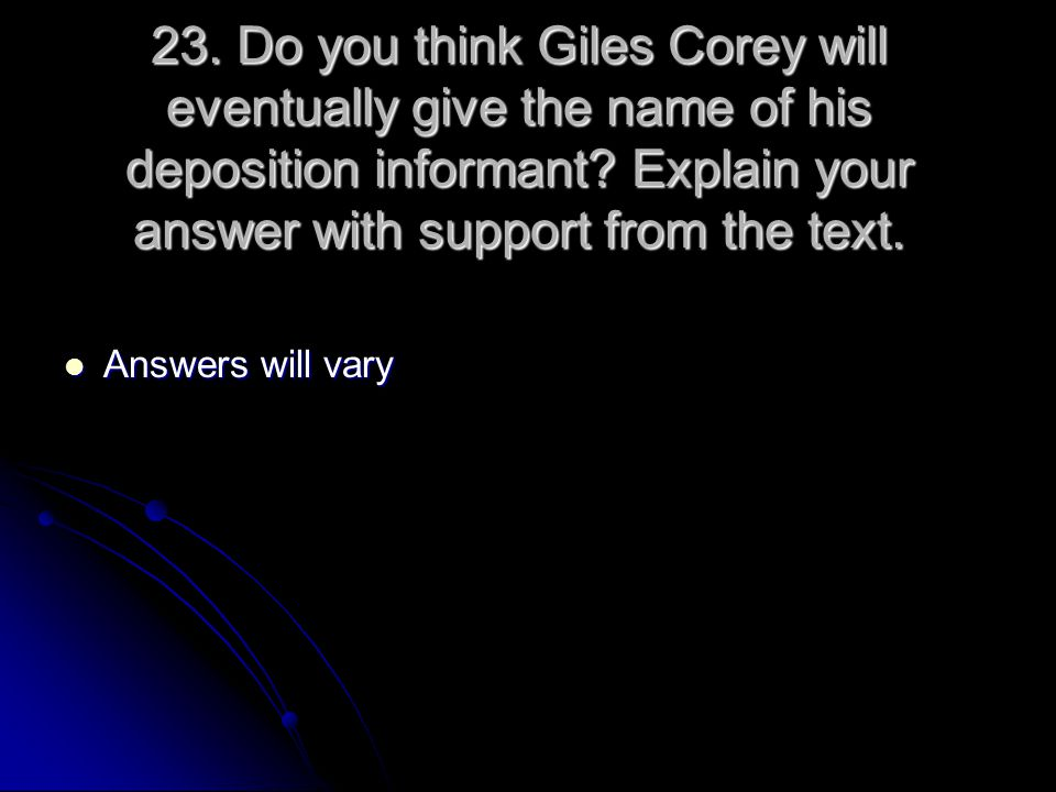 23. Do you think Giles Corey will eventually give the name of his deposition informant Explain your answer with support from the text.