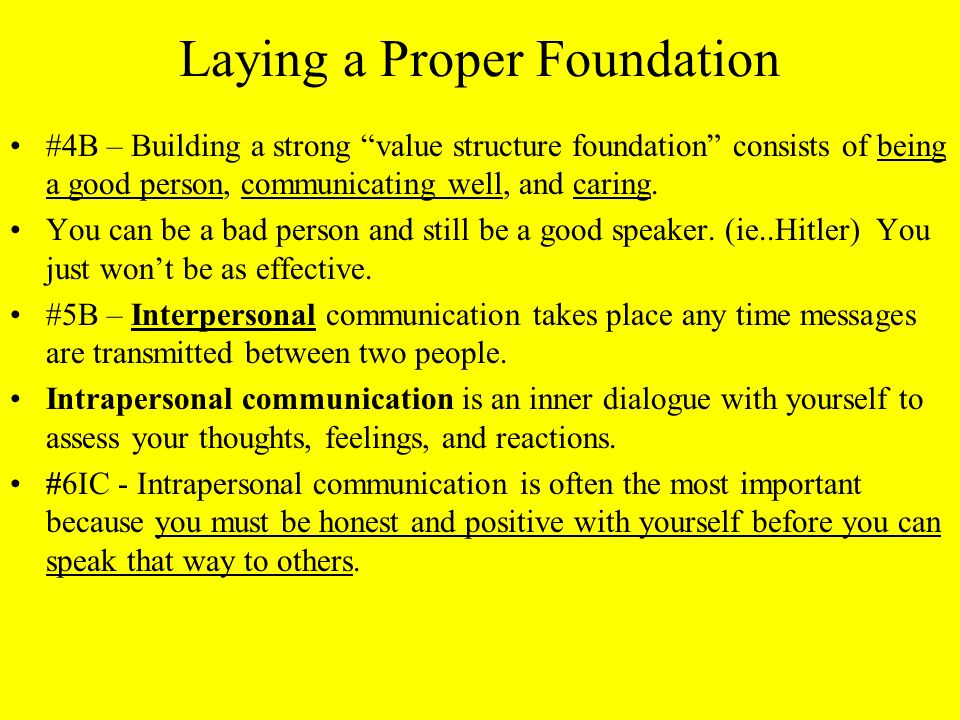 Laying a Proper Foundation