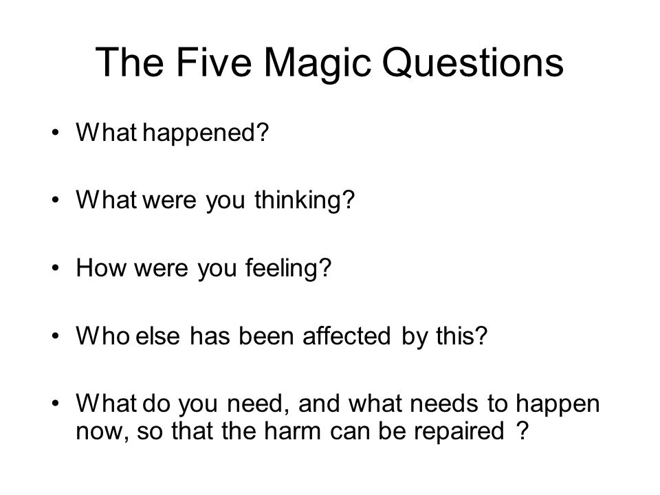 The Five Magic Questions