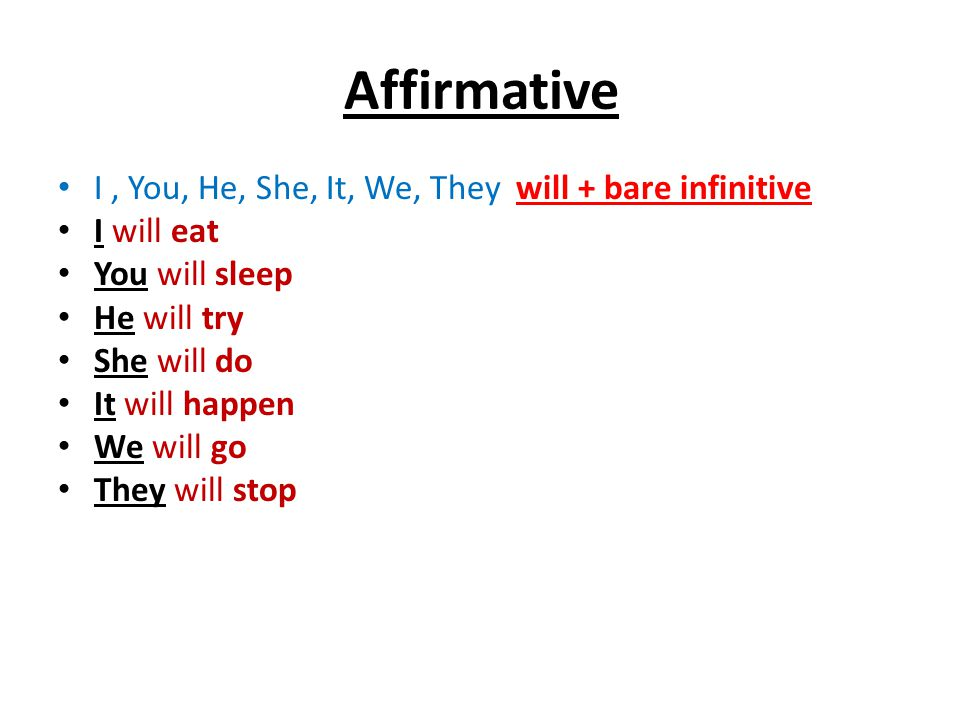 Affirmative I , You, He, She, It, We, They will + bare infinitive