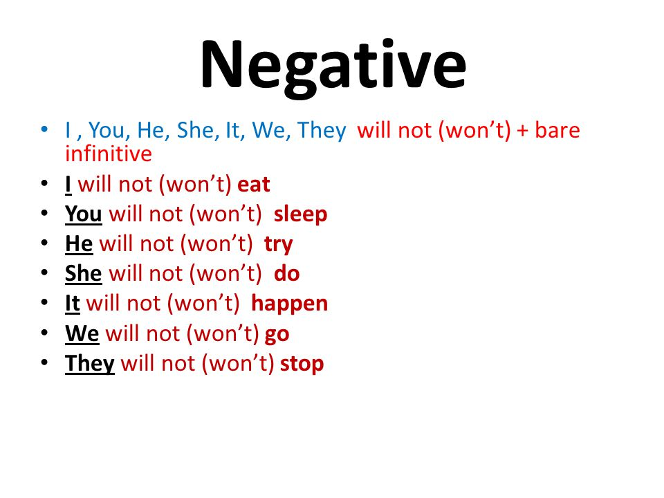 Negative I , You, He, She, It, We, They will not (won't) + bare infinitive. I will not (won't) eat.