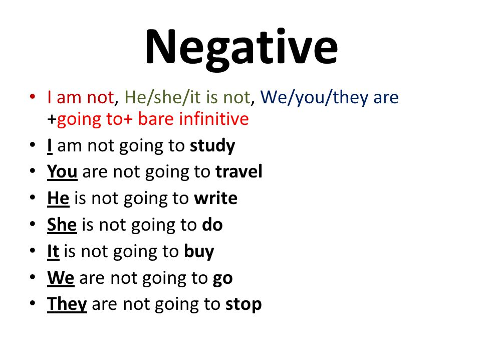 Negative I am not, He/she/it is not, We/you/they are +going to+ bare infinitive. I am not going to study.