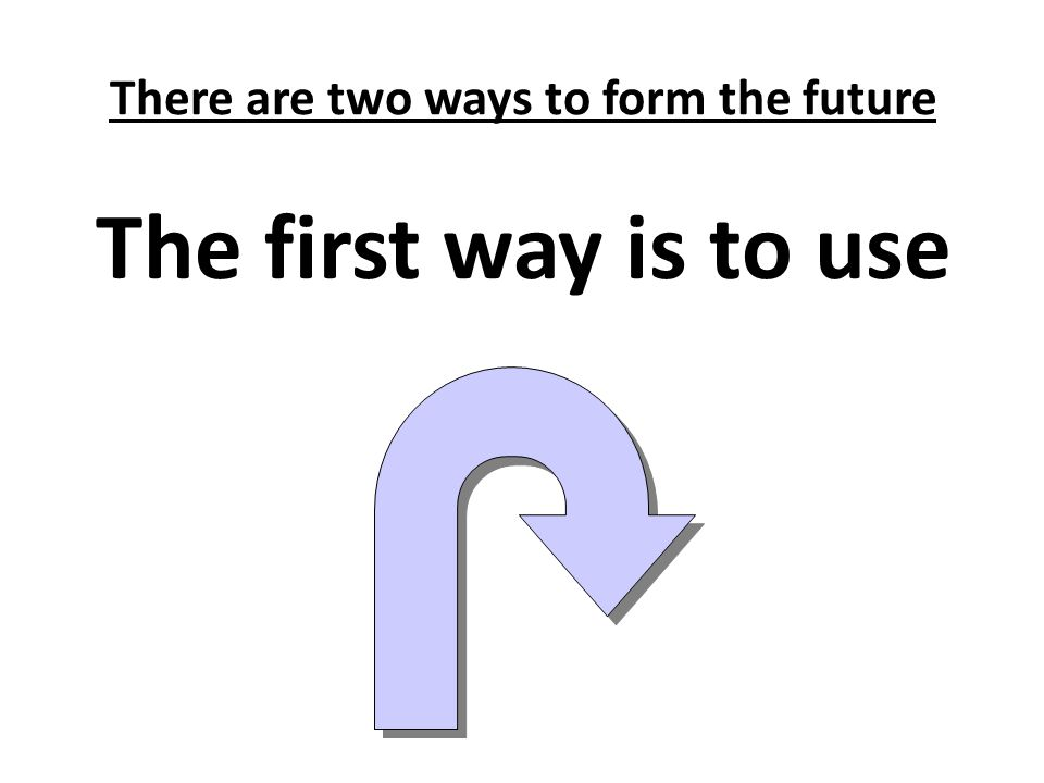 There are two ways to form the future
