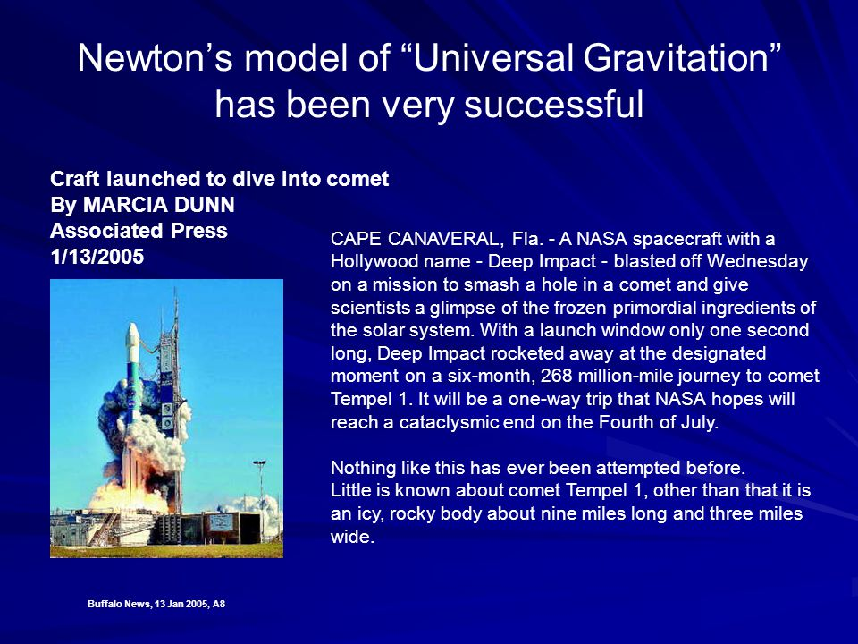 Newton's model of Universal Gravitation has been very successful