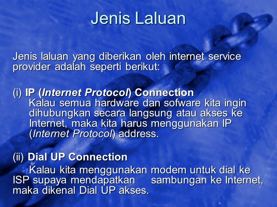 Jenis Laluan Jenis laluan yang diberikan oleh internet service provider adalah seperti berikut: (i) IP (Internet Protocol) Connection.