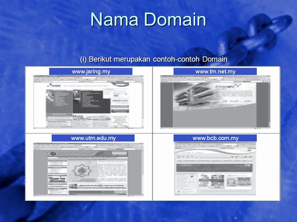 Nama Domain (i) Berikut merupakan contoh-contoh Domain www.jaring.my