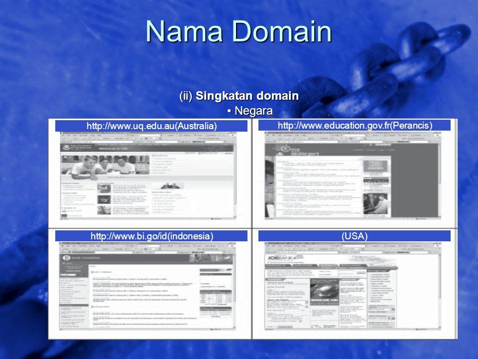 Nama Domain (ii) Singkatan domain • Negara