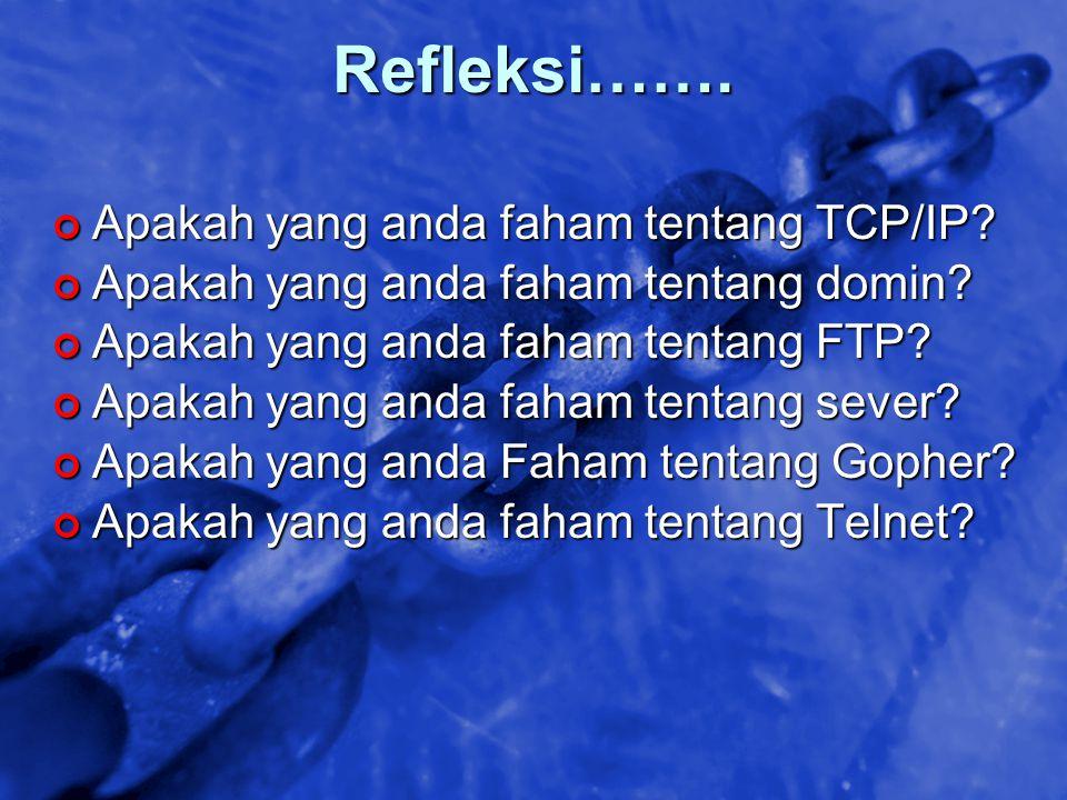 Refleksi……. Apakah yang anda faham tentang TCP/IP