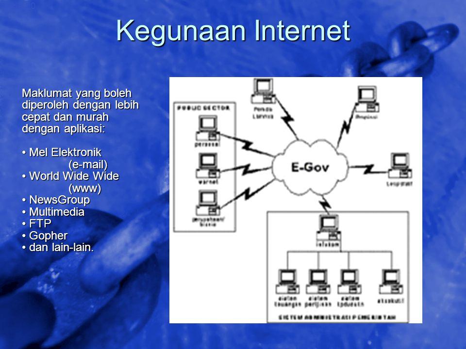 Kegunaan Internet Maklumat yang boleh diperoleh dengan lebih cepat dan murah dengan aplikasi: • Mel Elektronik.