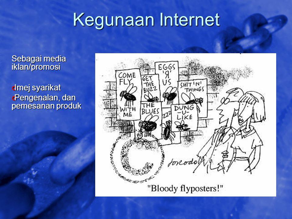 Kegunaan Internet Sebagai media iklan/promosi Imej syarikat