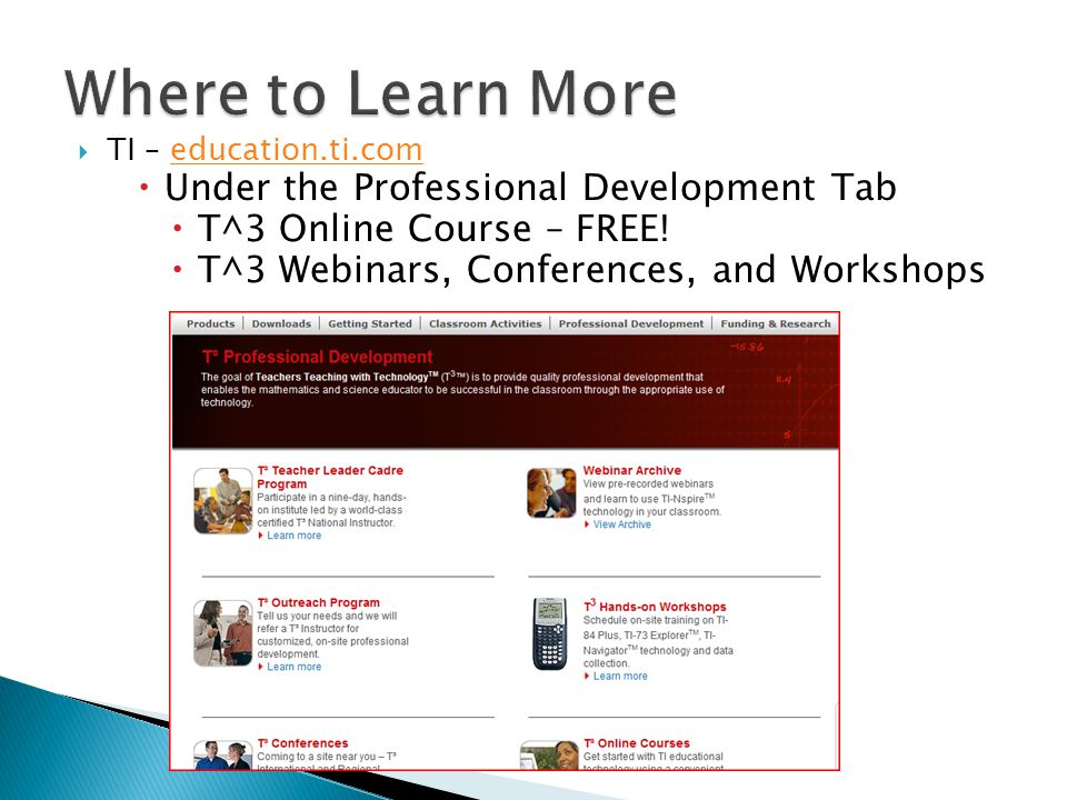 Where to Learn More Under the Professional Development Tab