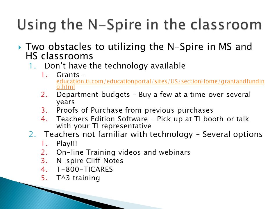 Using the N-Spire in the classroom