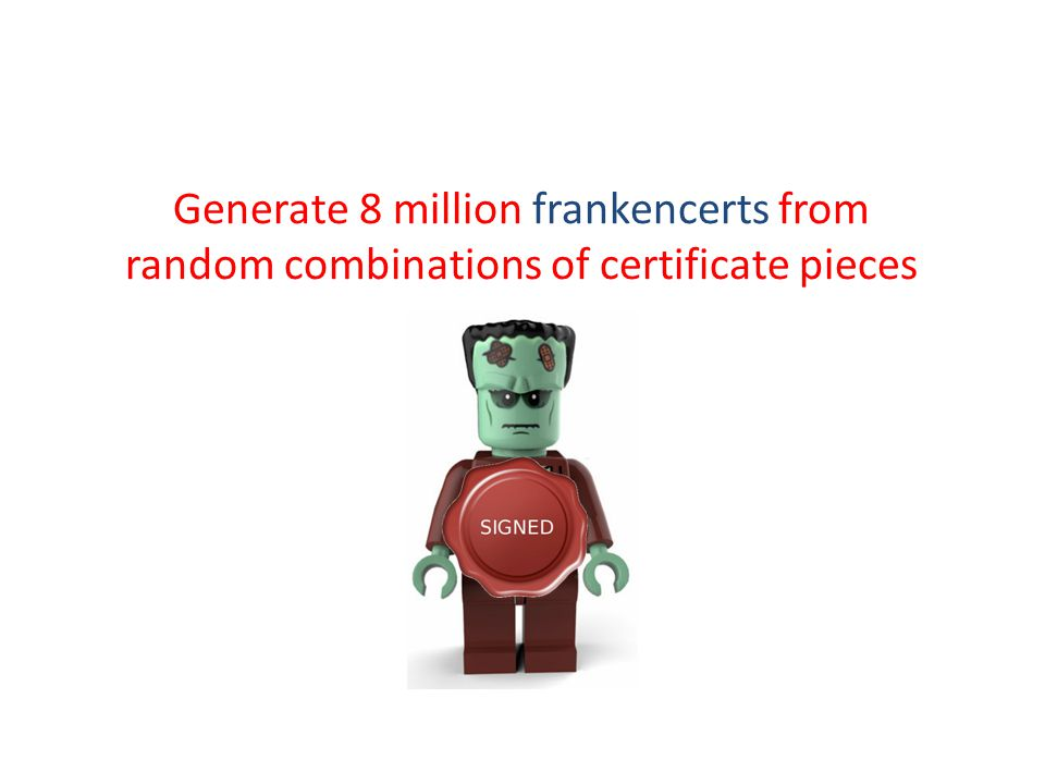 Generate 8 million frankencerts from random combinations of certificate pieces