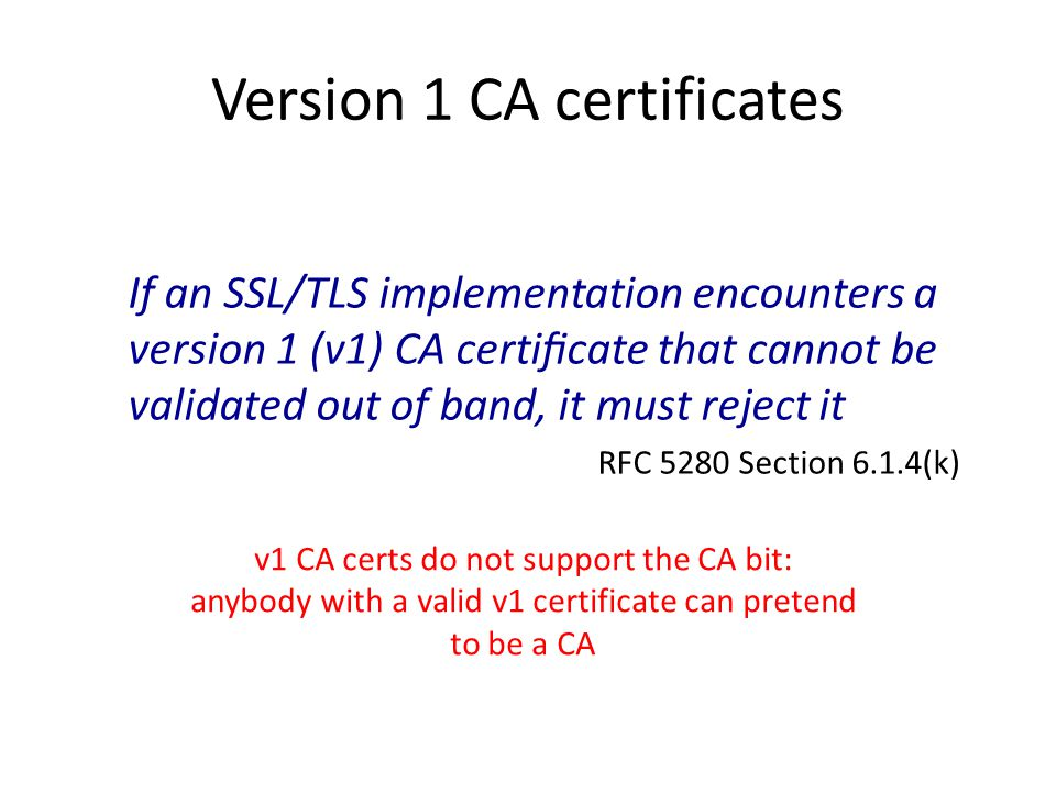 Version 1 CA certificates