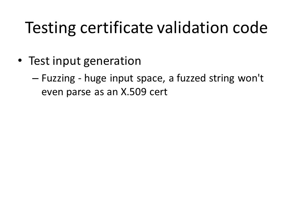 Testing certificate validation code