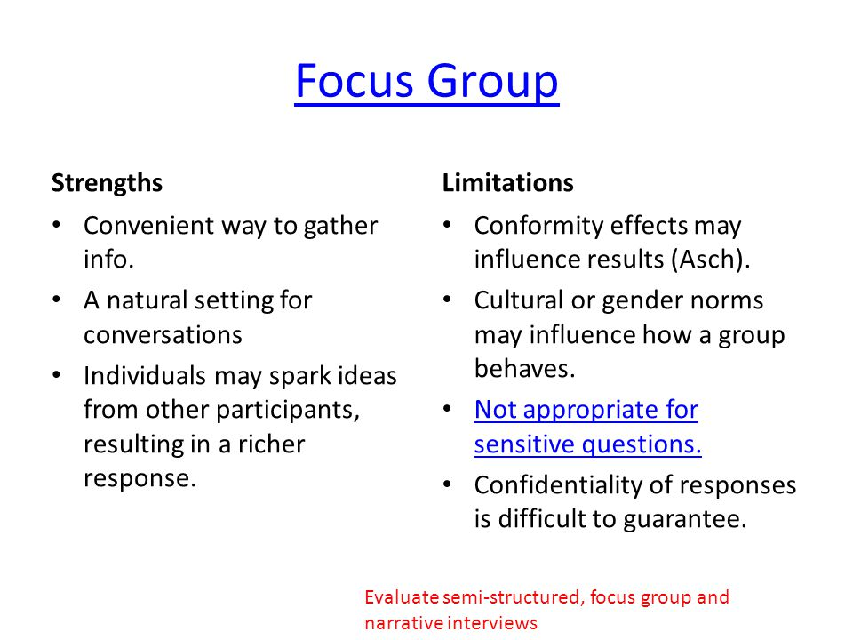 Focus Group Strengths Limitations Convenient way to gather info.