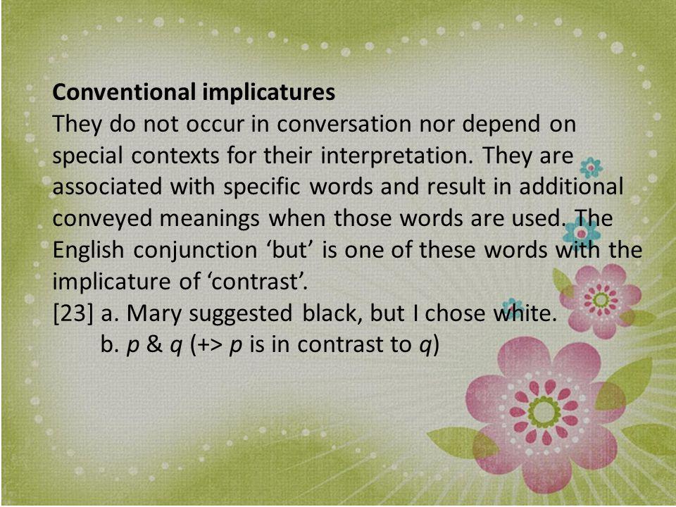 Conventional implicatures