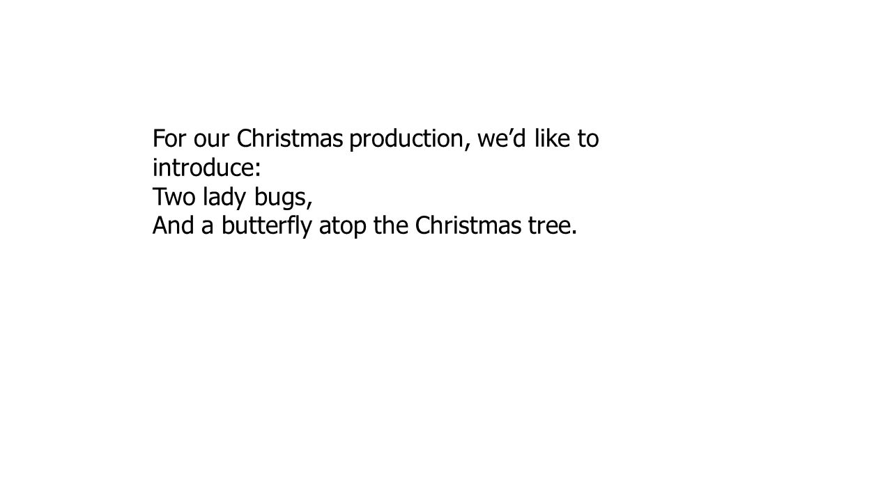 For our Christmas production, we'd like to introduce: