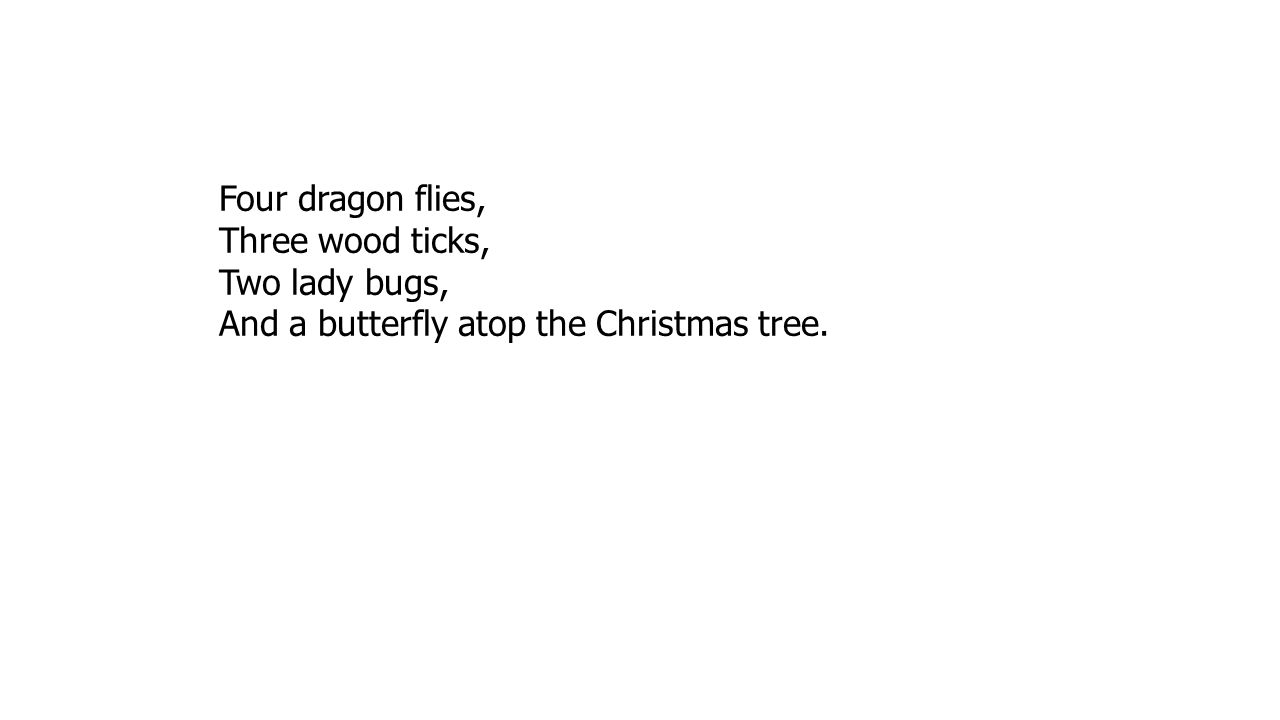 Four dragon flies, Three wood ticks, Two lady bugs, And a butterfly atop the Christmas tree.