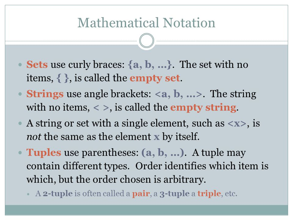 Mathematical Notation