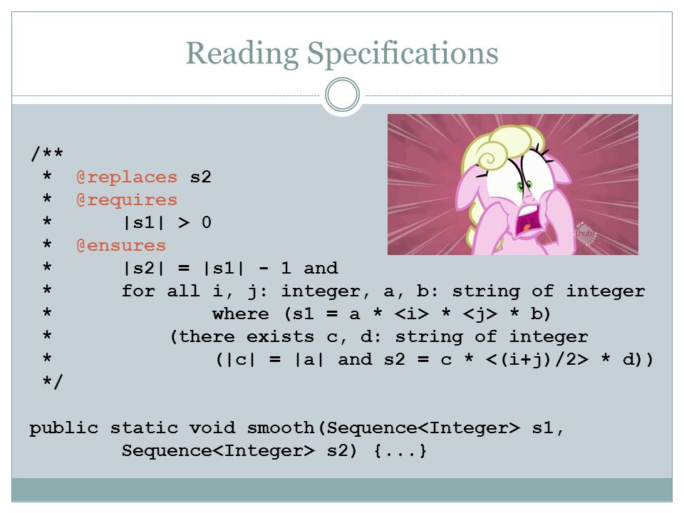Reading Specifications