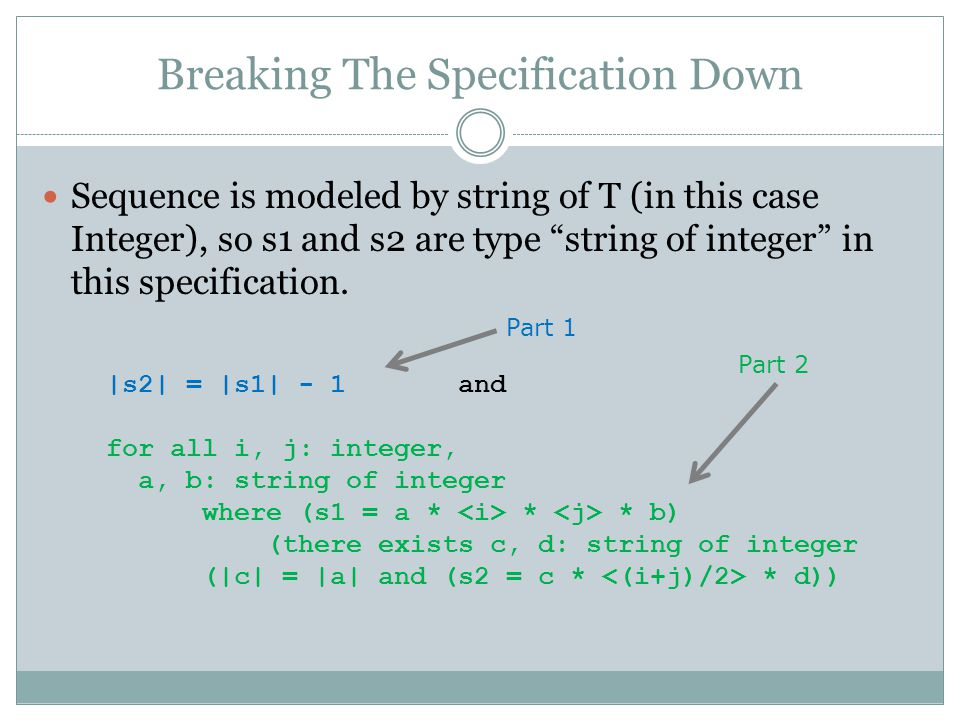 Breaking The Specification Down