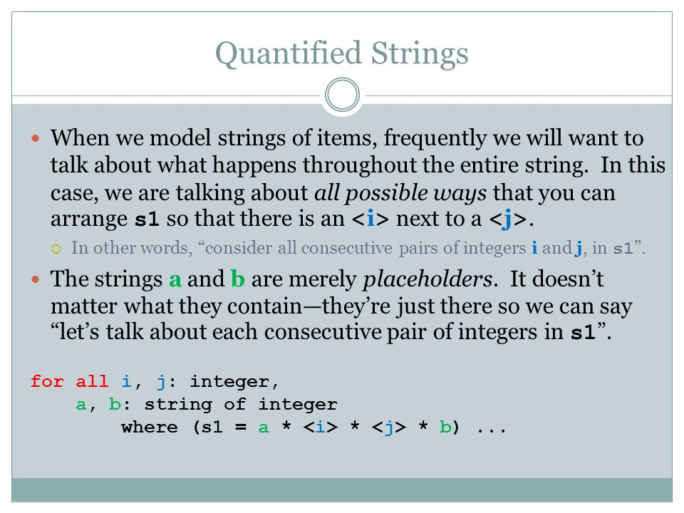 Quantified Strings