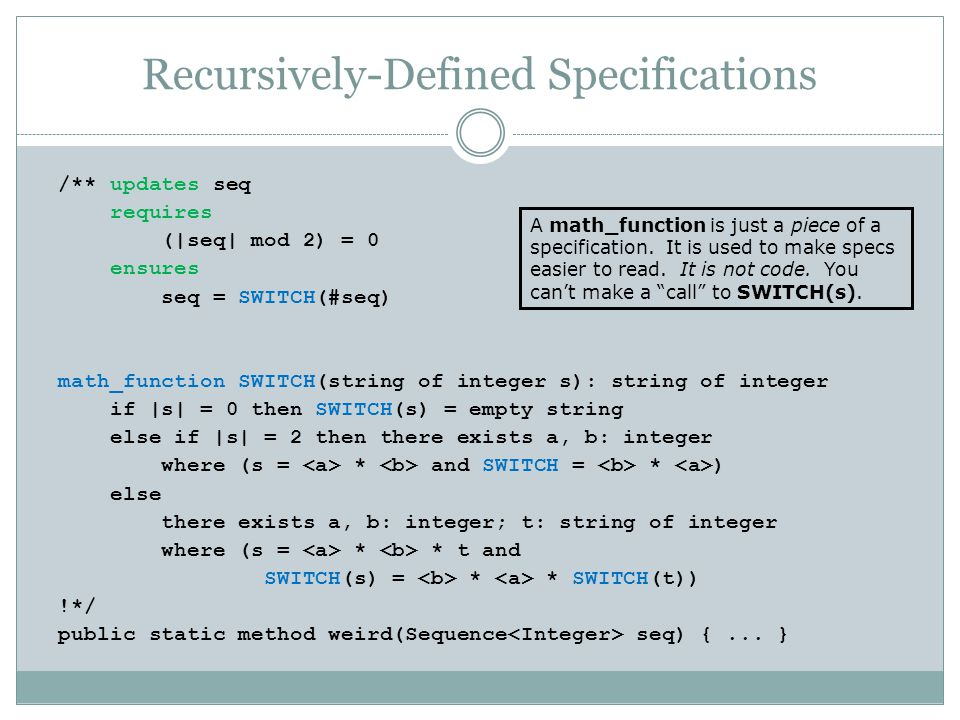 Recursively-Defined Specifications