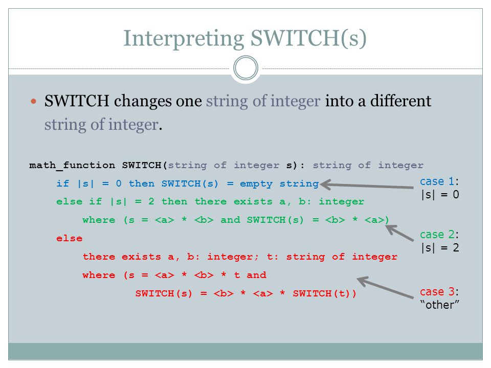 Interpreting SWITCH(s)