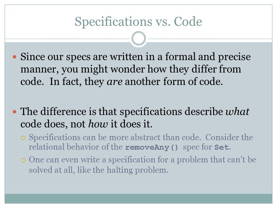 Specifications vs. Code