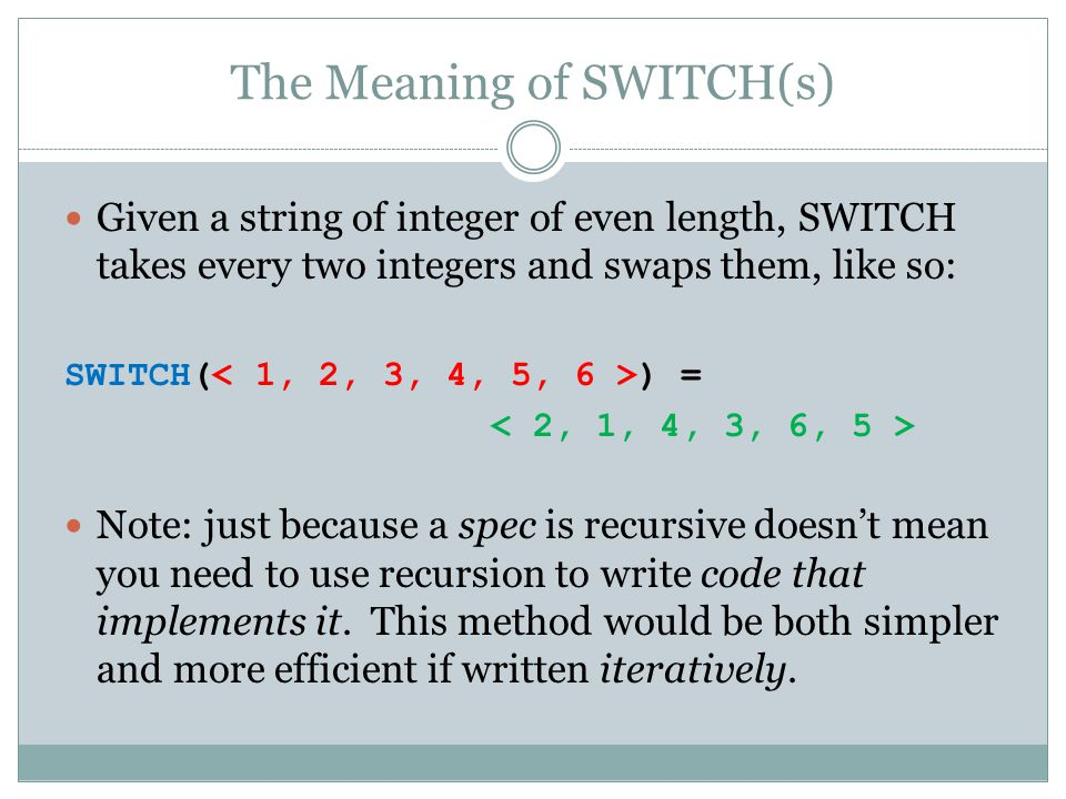 The Meaning of SWITCH(s)