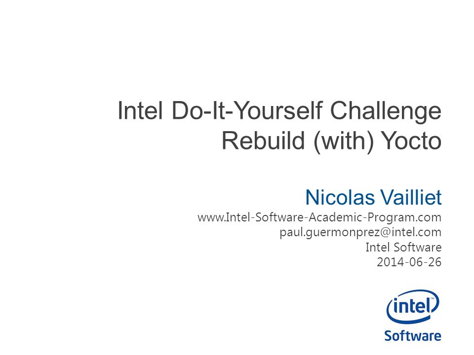 Intel Do-It-Yourself Challenge Rebuild (with) Yocto