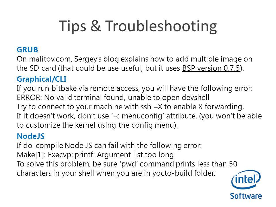 Tips & Troubleshooting