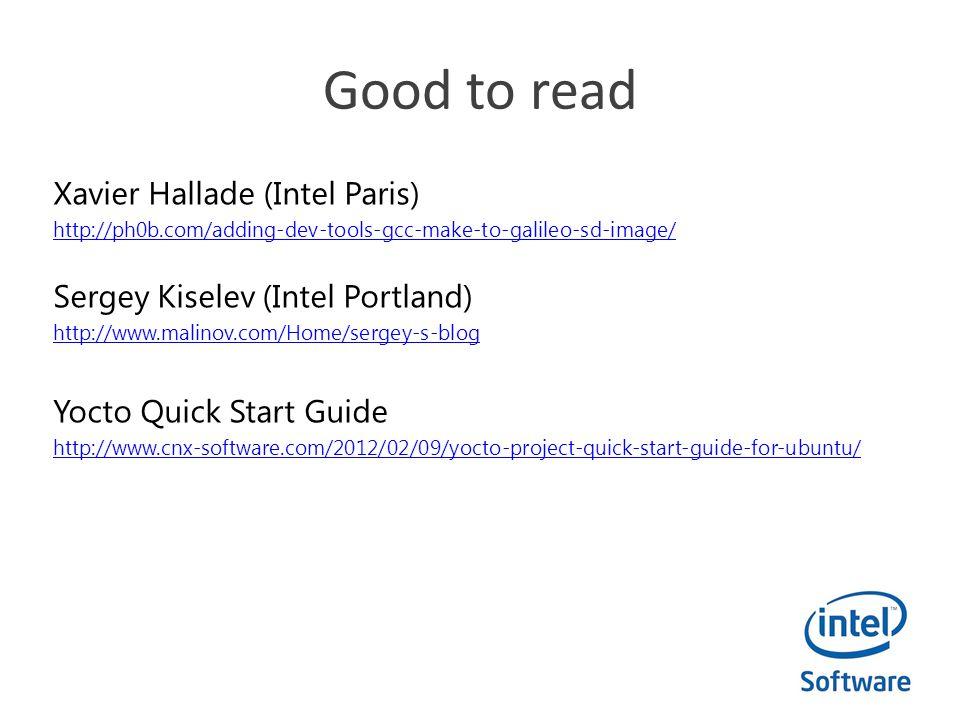 Good to read Xavier Hallade (Intel Paris)